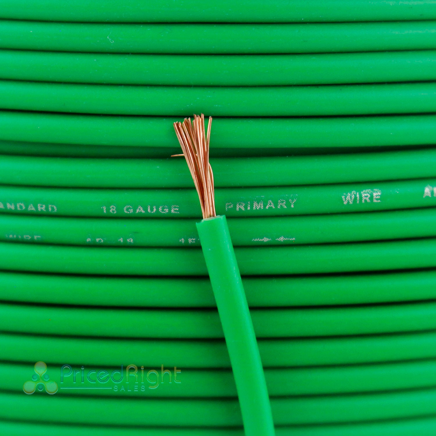 20' Ft Section 18 Gauge Remote Wire Green CCA AWG Power Primary Flexible Cable