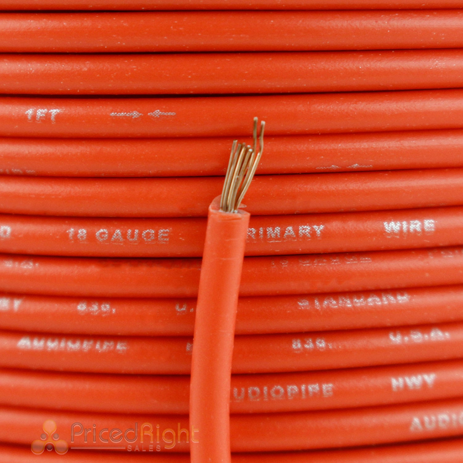 100' Ft Section 18 Gauge Remote Wire Orange CCA AWG Power Primary Flexible Cable
