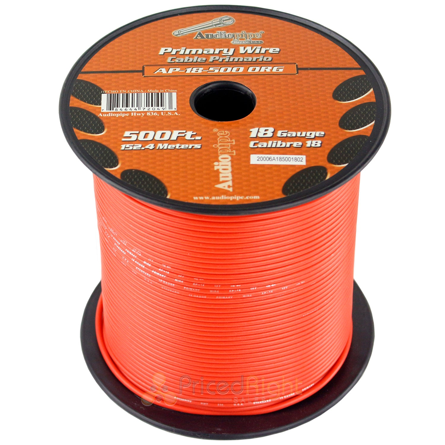 500' FT Spool Of Orange 18 Gauge AWG Feet Home Primary Power Cable Remote Wire