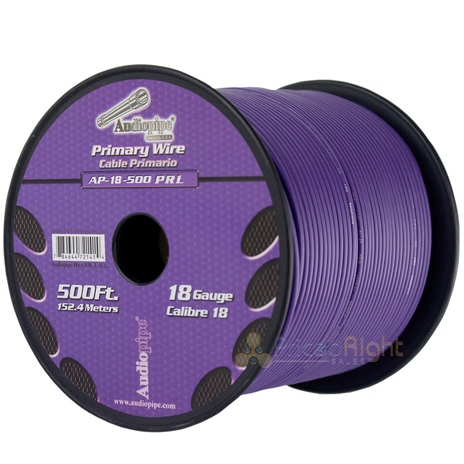 500' FT Spool Of Purple 18 Gauge AWG Feet Home Primary Power Cable Remote Wire