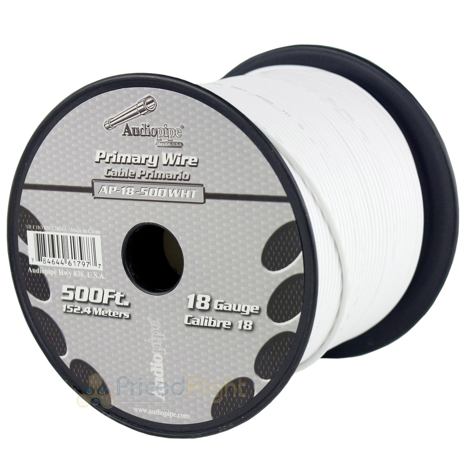 500' FT Spool Of White 18 Gauge AWG Feet Home Primary Power Cable Remote Wire