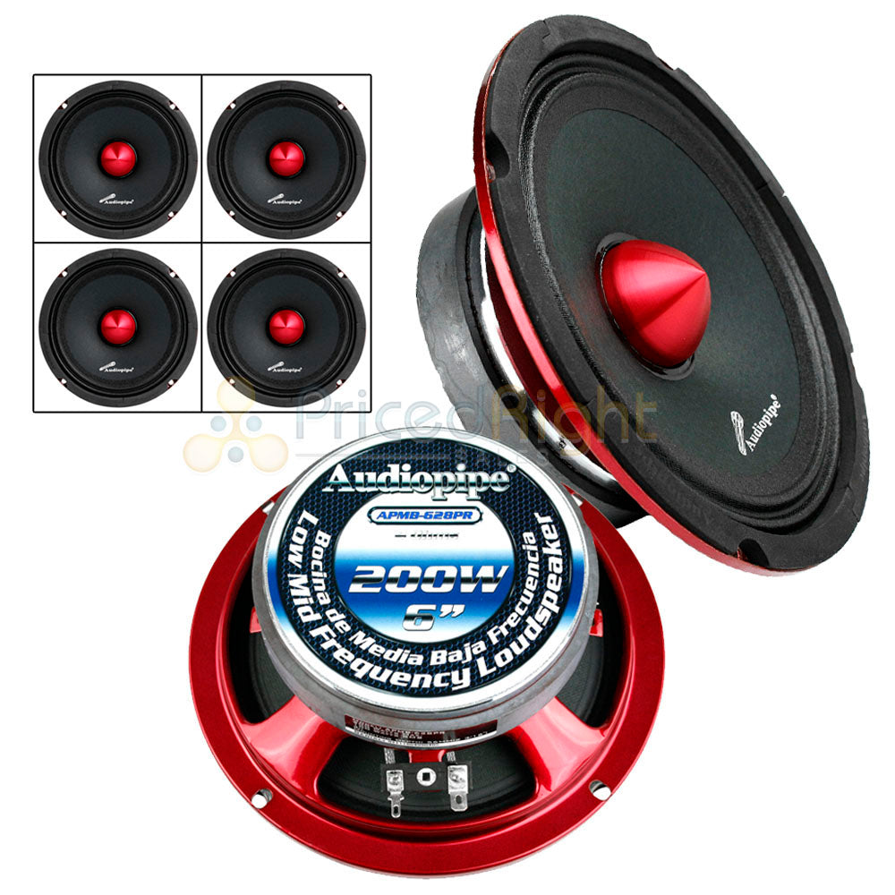 "4 Pack 6"" Inch Mid Range Speakers 200W Max 4 Ohm Audiopipe APMB-628PR Set"