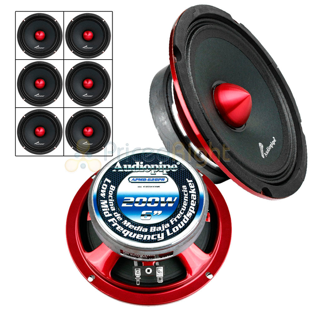 "6 Pack 6"" Inch Mid Range Speakers 200W Max Power 4 Ohm Audiopipe APMB-628PR Set"