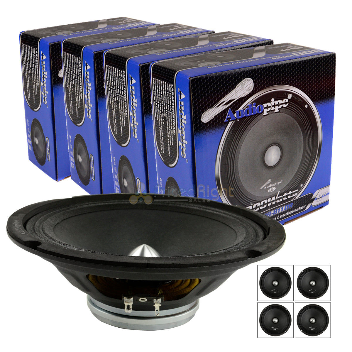 "4 Audiopipe 8"" 300W Low Mid Frequency Loudspeakers APMB-811DR Car Audio 4-Pack"