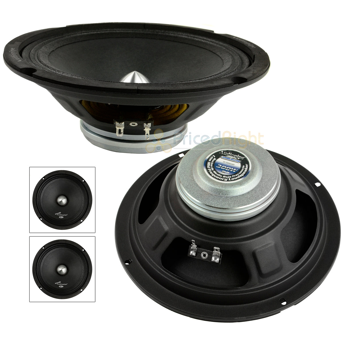 "2 Audiopipe 8"" 300W Low Mid Frequency Loudspeakers APMB-811DR Audio Shallow Pair"