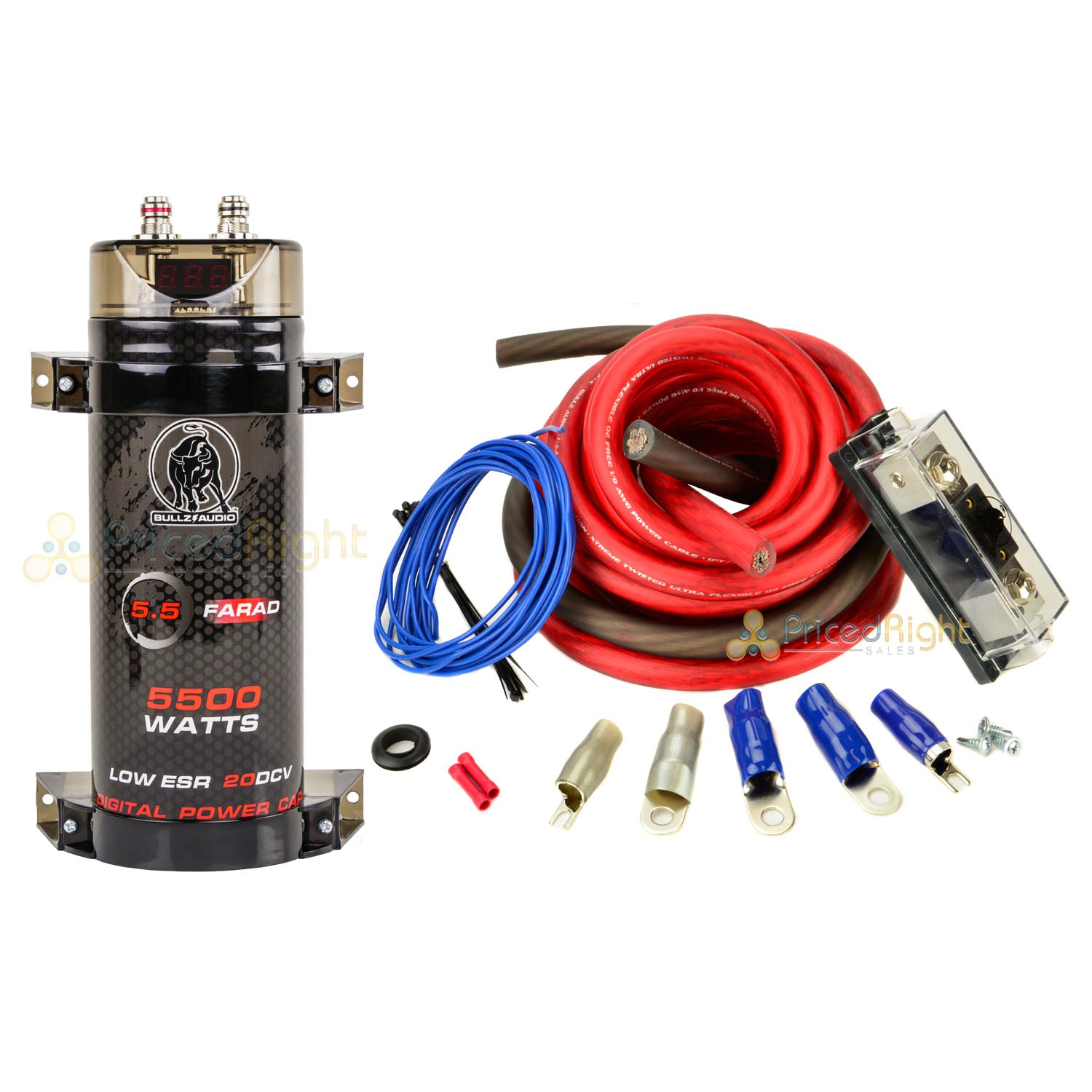 Bullz Audio BCAP5.5 Farad Capacitor True 0 GA Car Amp Installation Kit Bundle