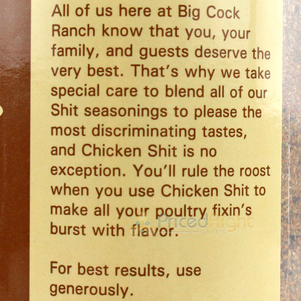 Big Cock Ranch 12 Oz Chicken Shit Poultry Seasoning All Purpose Gluten & Msg Free