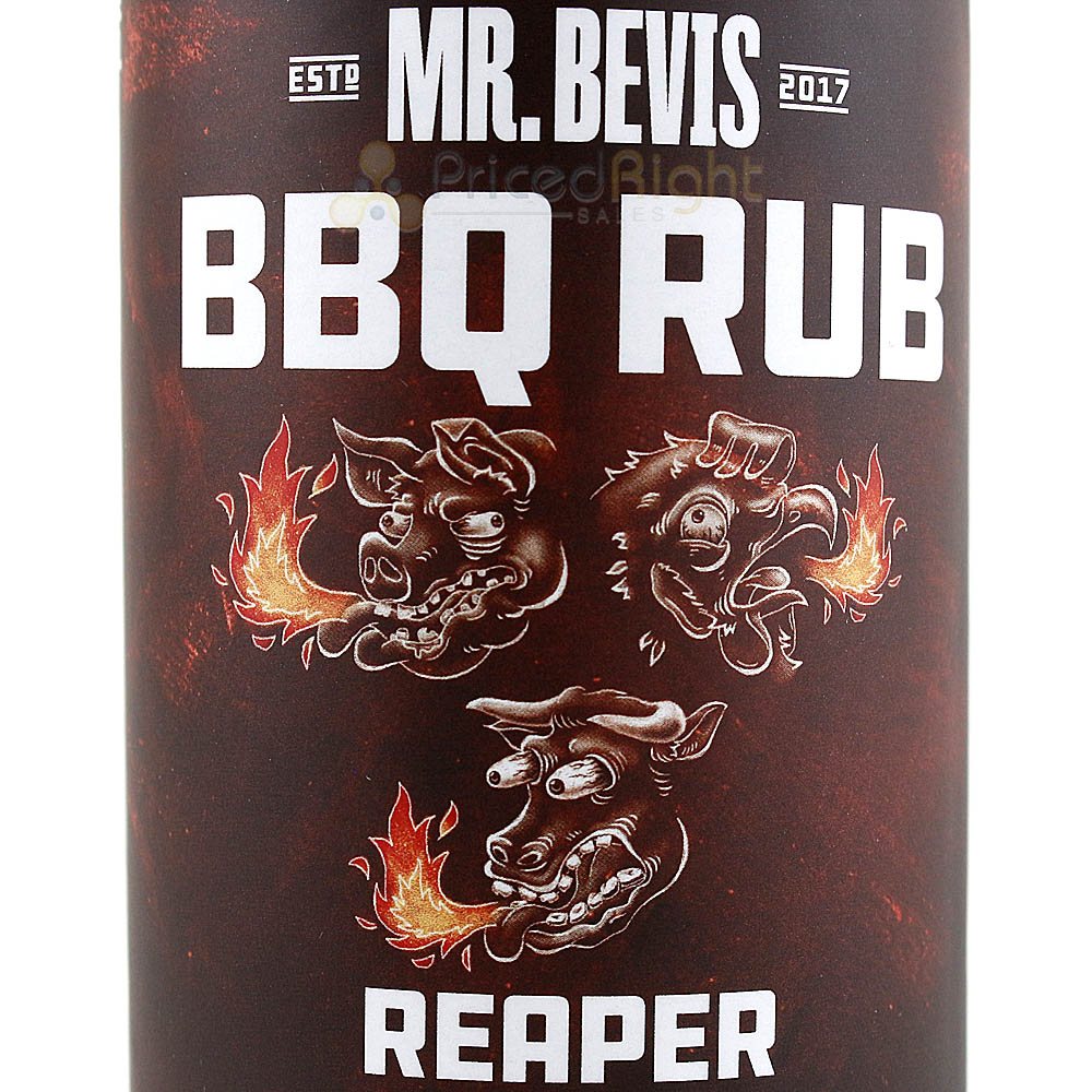 Mr Bevis 10 Oz Reaper Spicy Hot BBQ Dry Rub Seasoning Gluten Free Msg Free