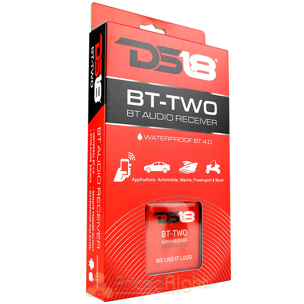 Allows Connect /& Play Integration to Your Audio Device Stero Male RCA Output Remote Trigger Output BT 4.0 DS18 BT-Two Bluetooth Receiver IP65 Waterproof Rated
