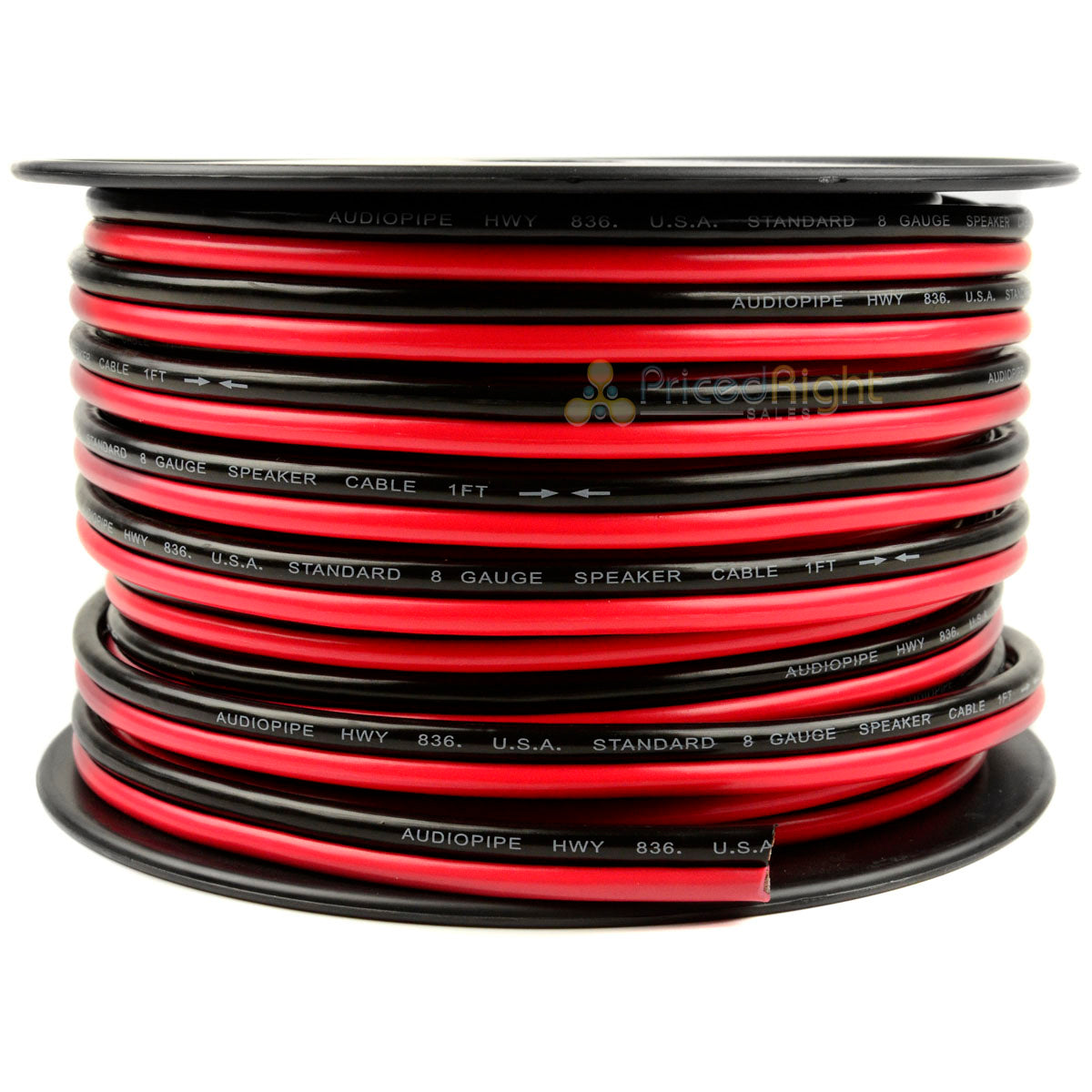 100 ft 8 Gauge Speaker Wire Zip Cable Car Home Audio Black and Red Audiopipe