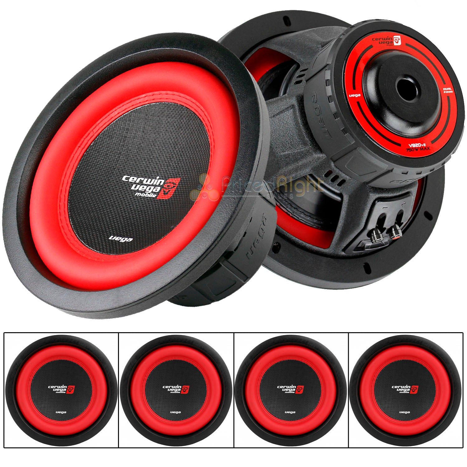 "4 Pack 8"" Dual 2 Ohm Subwoofer 750 Watts Car Audio Sub DVC Cerwin Vega V82DV2"