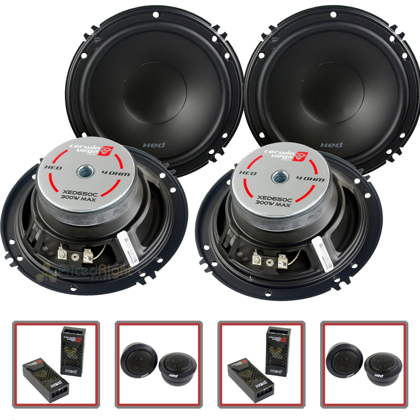 "4 Cerwin Vega 2 Way 6.5"" Component Speaker System Tweeter Crossover Xed650c"