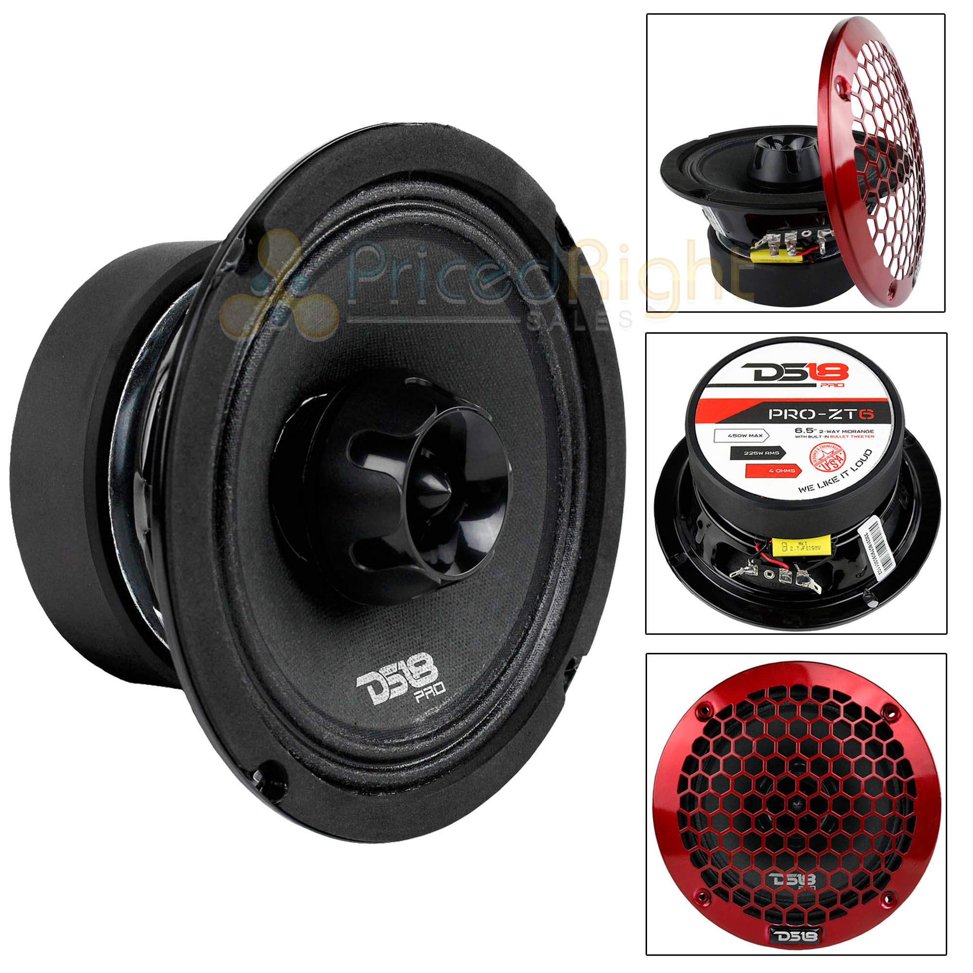 "6.5"" 2 Way Midrange Speaker Built In Tweeter 450 Watts Max 4 ohm DS18 PRO-ZT6"