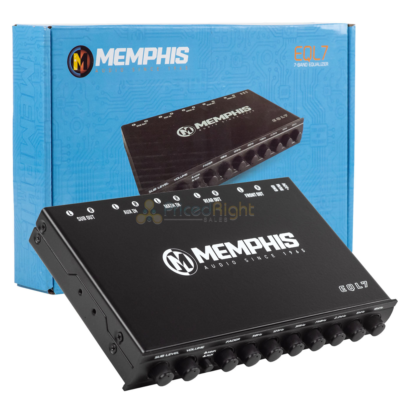 Memphis Audio 7 Band Graphic Equalizer Car Audio 8V Output AUX Input Preamp EQL7