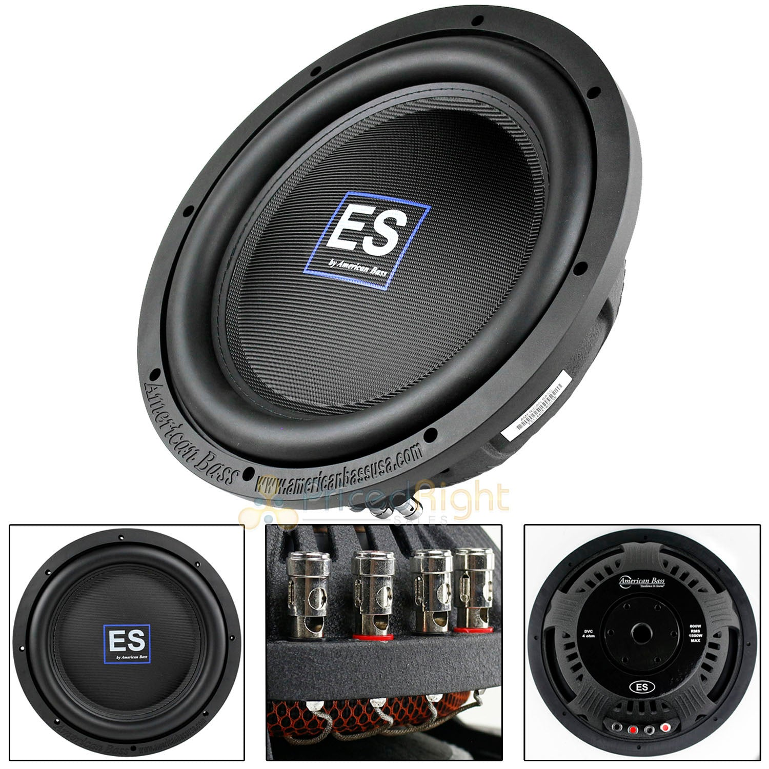 "American Bass 12"" Slim Subwoofer 1500 Watts Max Dual 4 Ohm Car Audio ES-1244"