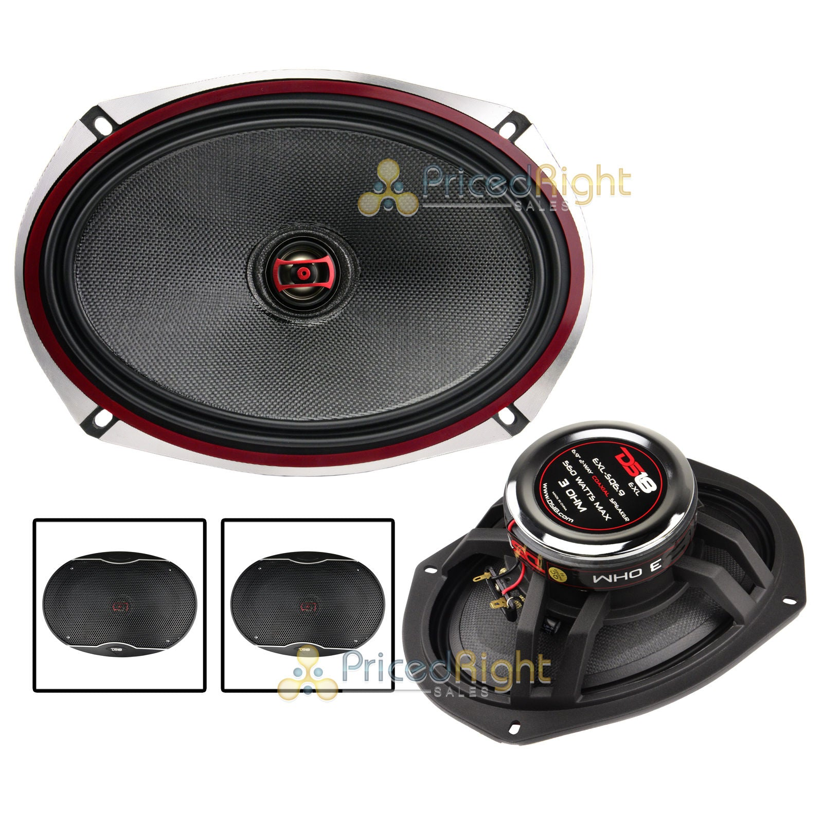 "DS18 EXL-SQ6.9 Pair 6x9"" 2 Way Coaxial Speaker 560 Watts Max Power 2 Speakers"
