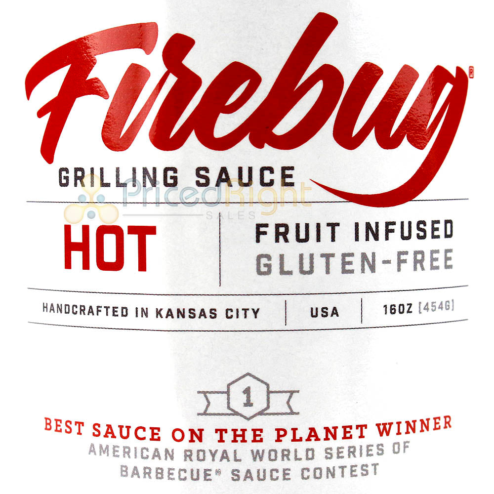 Firebug Grilling BBQ Hot Sauce 16oz Bottle Handcrafted Fruit Infused Gluten Free