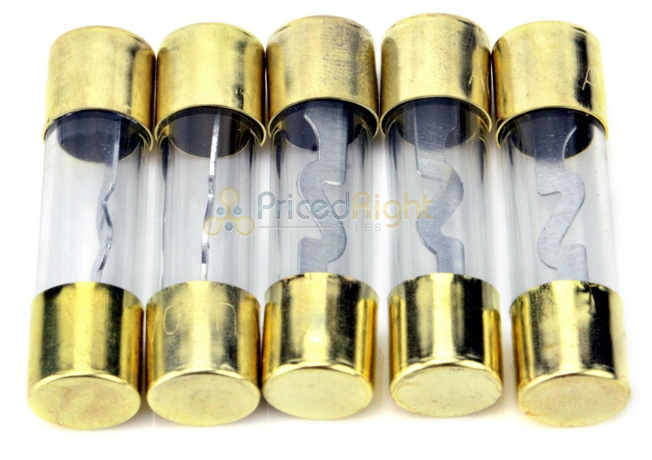 High Quality Gold In-line 4 or 8 Gauge AGU Fuse Holder + 5 Pack 50 AMP AGU Fuses