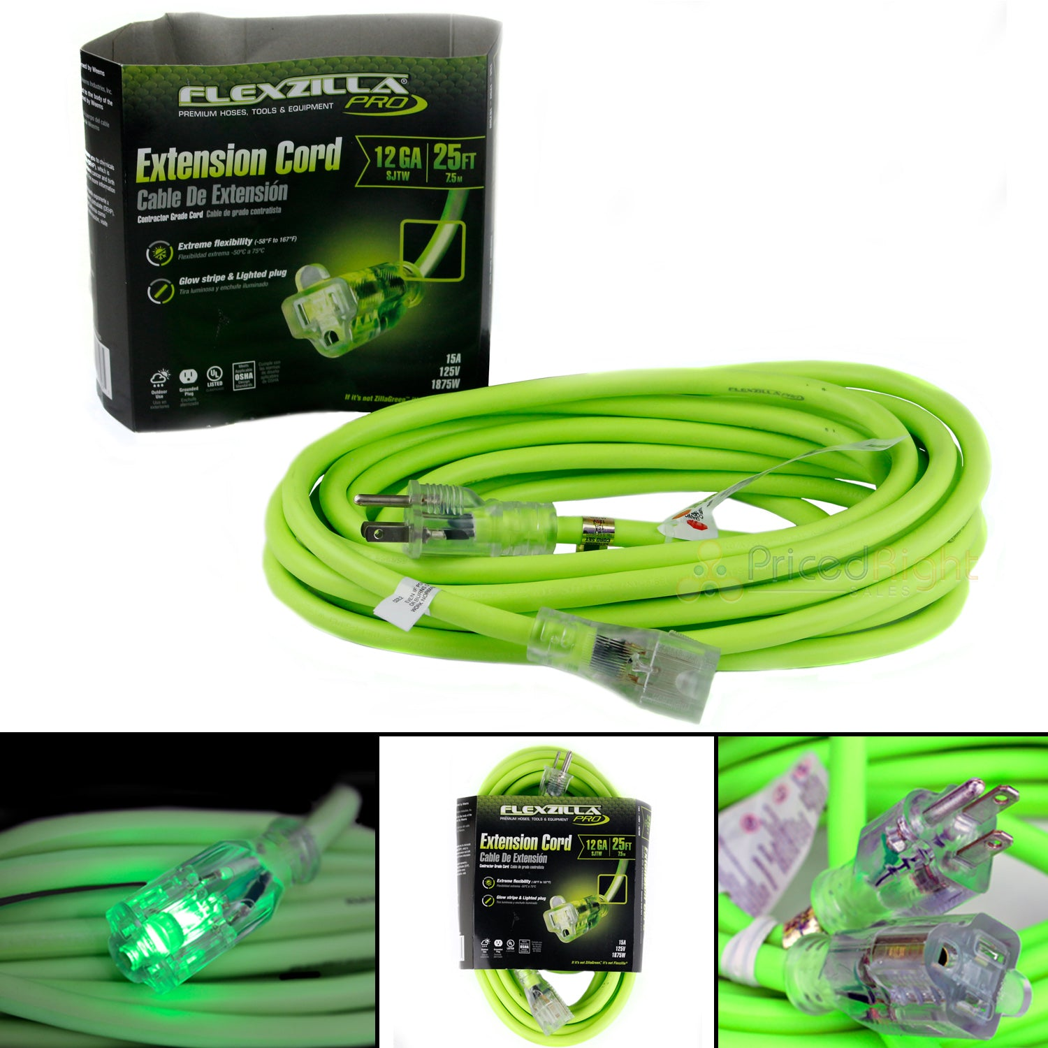 25 ft Flexzilla Pro Electric Extension Cord Power Cable Indoor Outdoor 12 Gauge