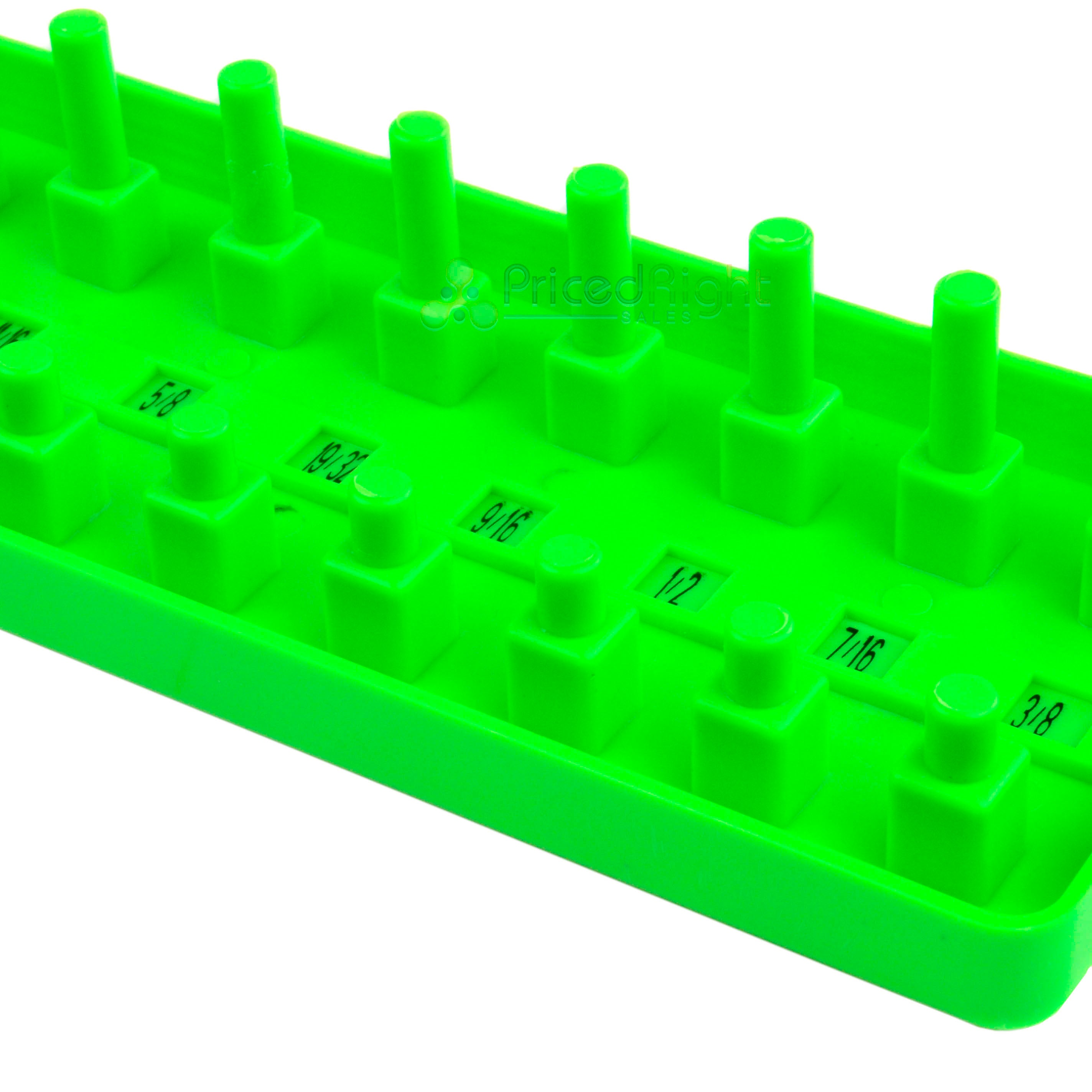 "GRIP 1/2"" 1/4"" 3/8"" Socket Tray Holder Metric SAE Organizer Universal Green"