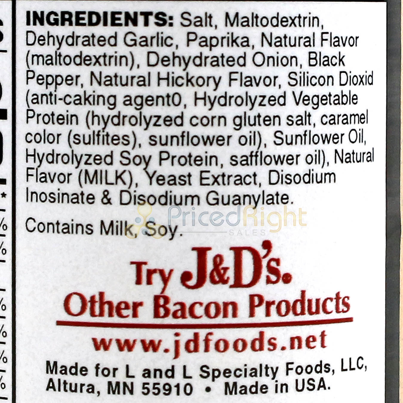 J&D's Original Bacon Salt 2.5oz All Natural Bacon Flavored Seasoning Spice Rub
