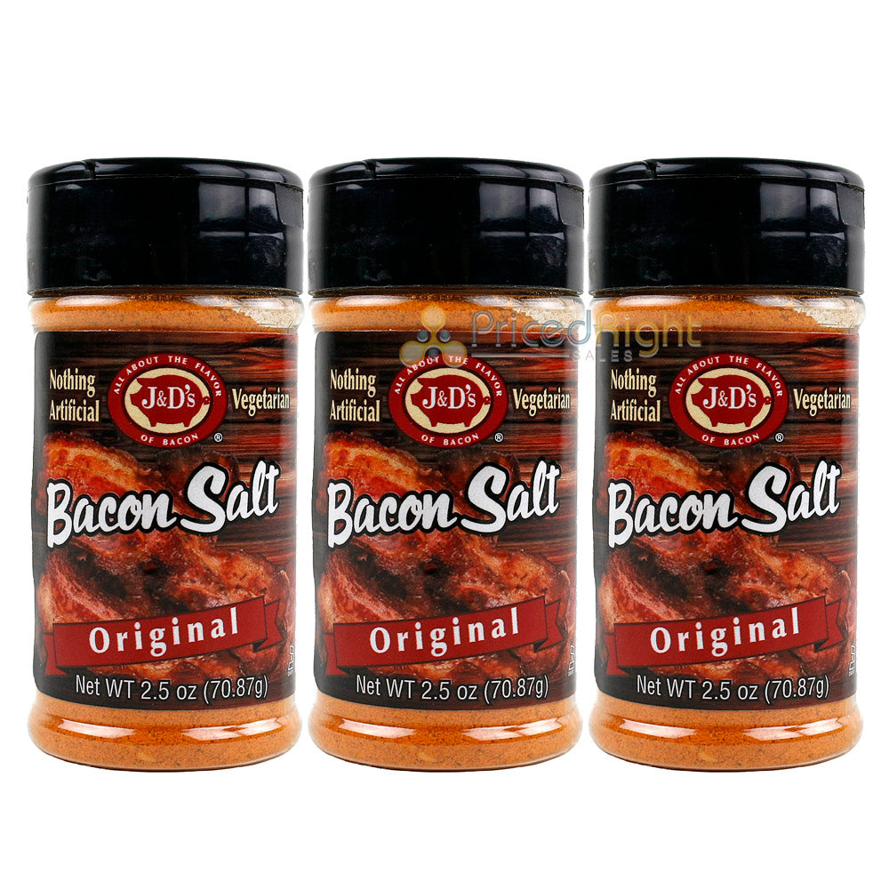 3 Pack J&D's Original Bacon Salt All Natural Bacon Flavored Seasoning Spice Rub