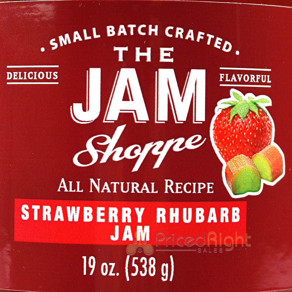 The Jam Shoppe All Natural Strawberry Rhubarb Jam 19 Oz. Jar Real Fruit Recipe