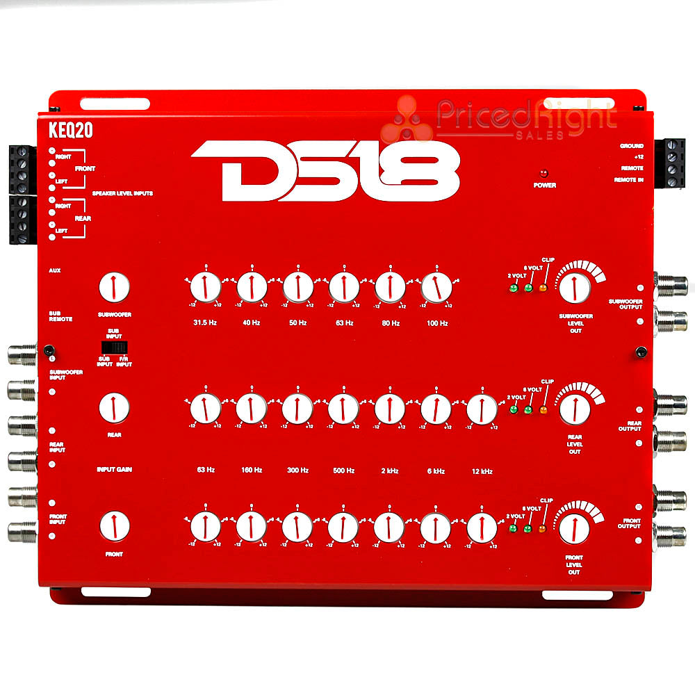 DS18 20 Band Equalizer EQ 6 Channel Line Driver Remote Sub Control KEQ20 Red