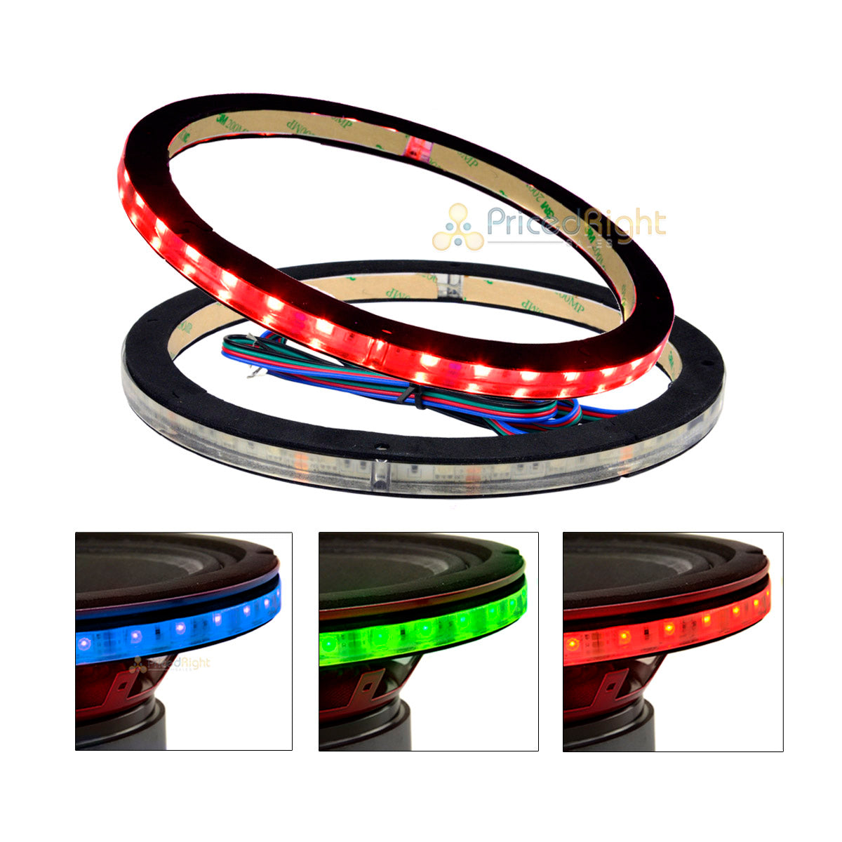 "2 Pack DS18 10"" Speaker Ring .5"" Spacer RGB LED 1/2"" Waterproof Light LRING10"