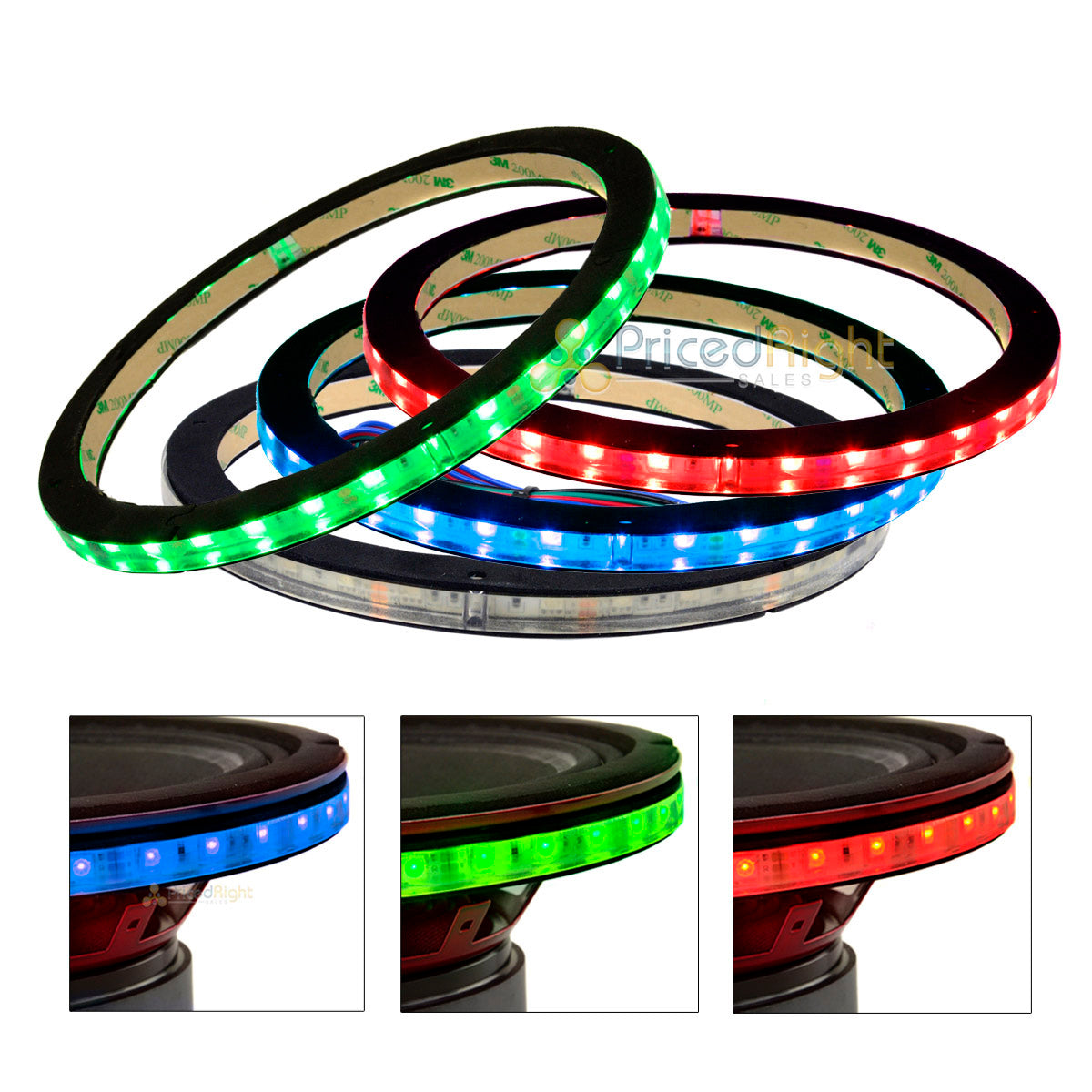 "4 Pack DS18 10"" Speaker Ring .5"" Spacer RGB LED 1/2"" Waterproof LRING10 Accent"