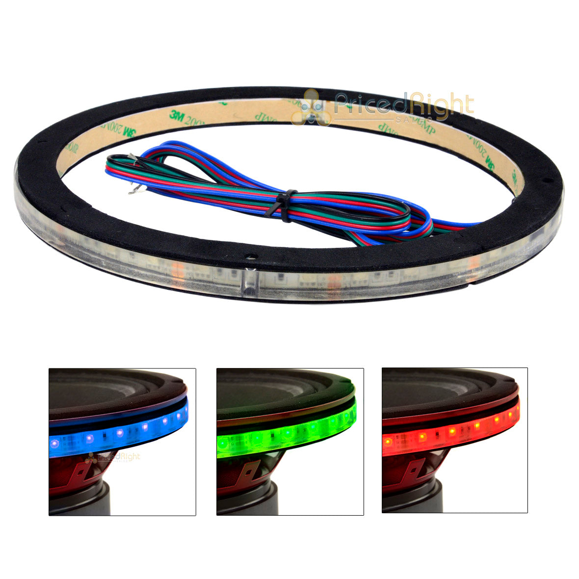 "10"" Waterproof RGB LED Speaker Ring 1/2"" Spacer DS18 LRING10 Accent Single"
