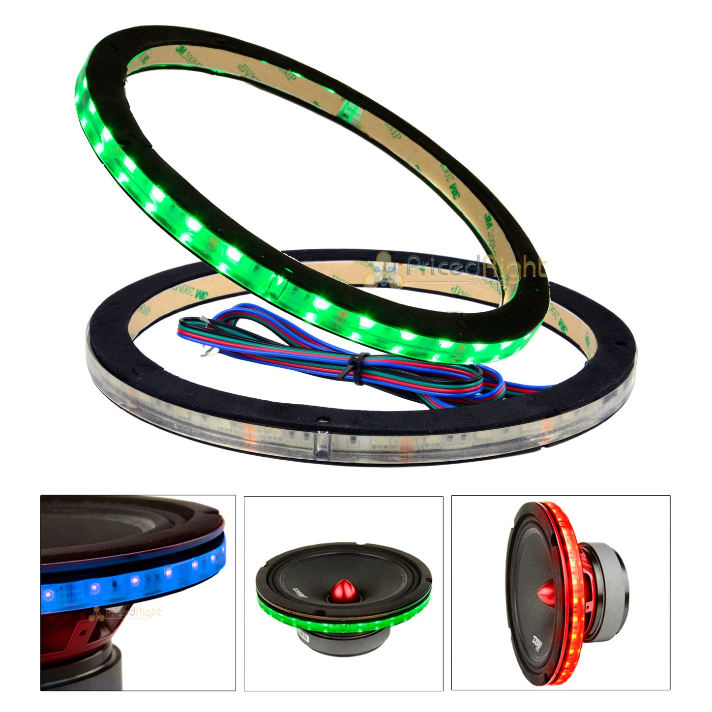 "2 Pack DS18 12"" Speaker Ring .5"" Spacer RGB LED 1/2"" Waterproof LRING12 Accent"