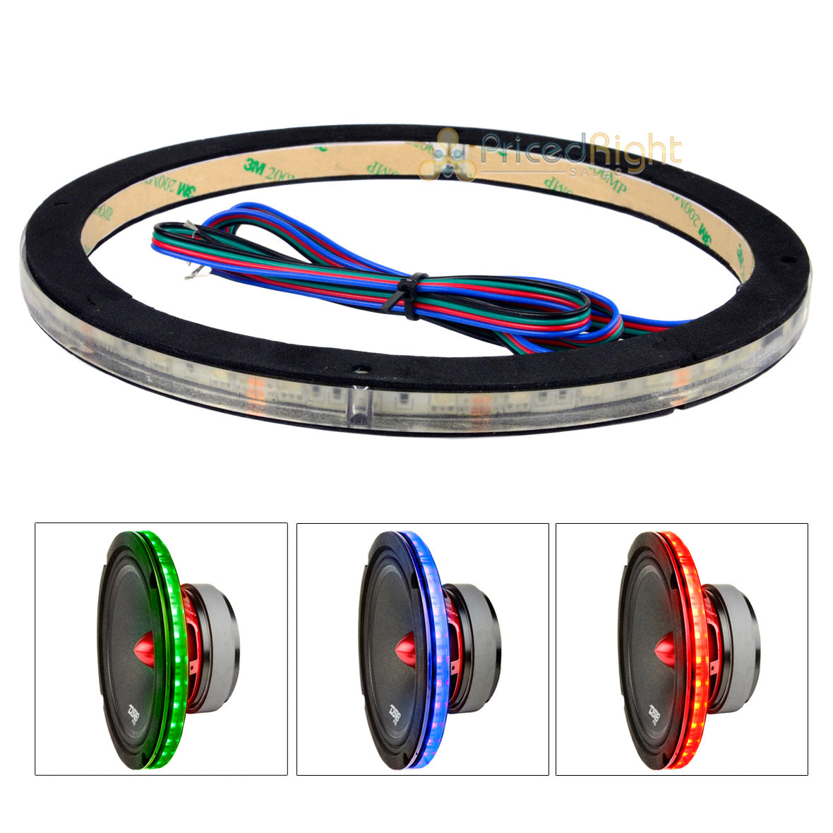 "DS18 Single 8"" Speaker Ring RGB LED 1/2"" Spacer Waterproof Light LRING8"