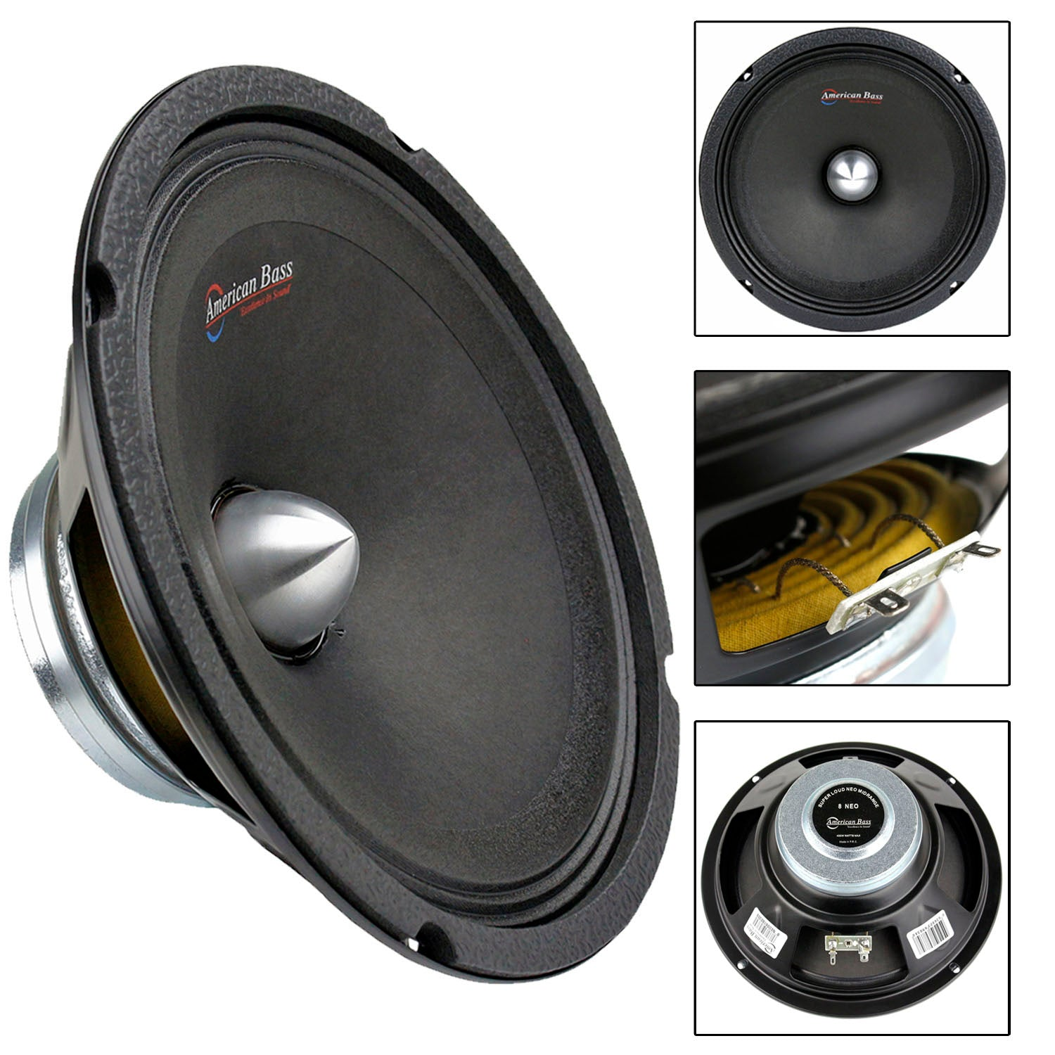 "8"" Inch 400 Watts Max Midrange Speaker Bullet 4 Ohm Car Audio American Bass NEO8"