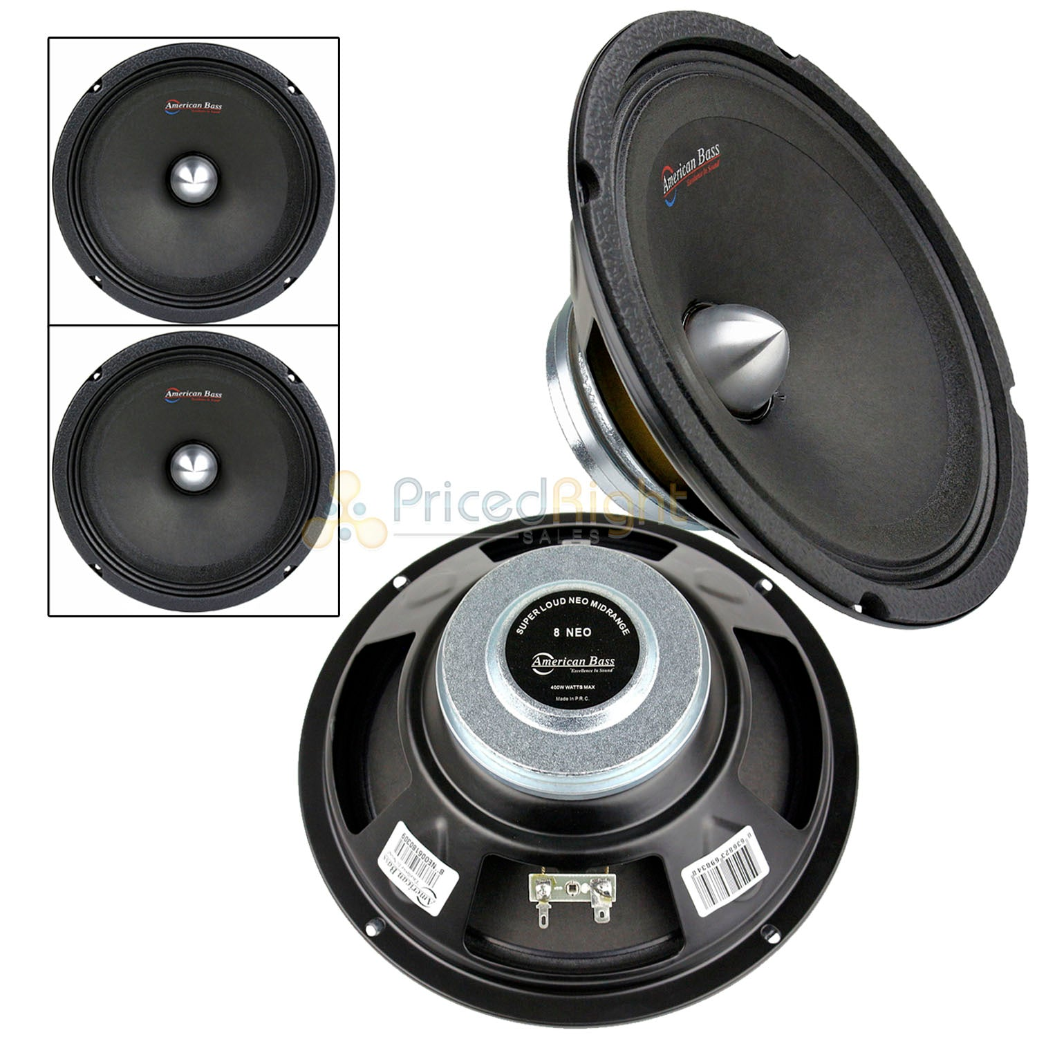 "2 8"" 400 Watts Midrange Bullet Loud Speaker 4 Ohm Car Audio American Bass NEO8"