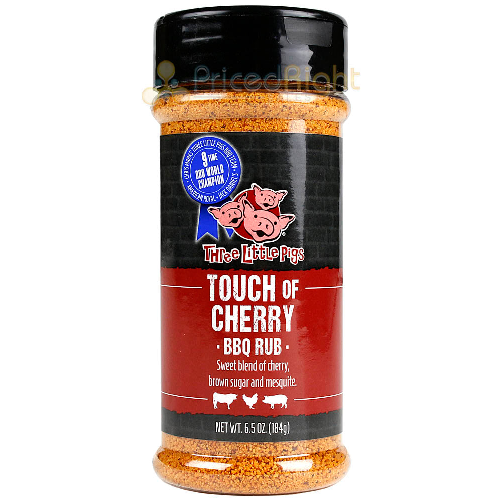 Three Little Pigs Touch of Cherry BBQ Rub 6.5 Oz Bottle Brown Sugar and Mesquite