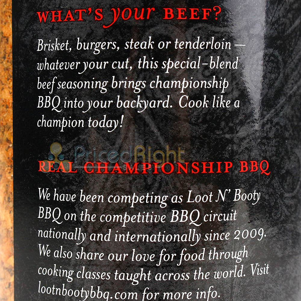 Loot N Booty Whats your Beef Dry Rub 14 Oz. Bottle Competition Rated Seasoning
