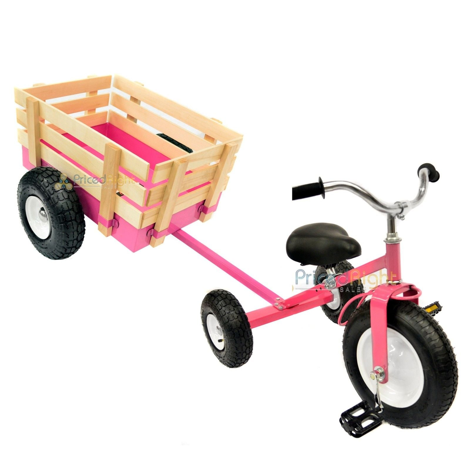 Pink Tricycle with Wagon Set Pull Along Trike Toy Outdoors Kids Exercise Valley