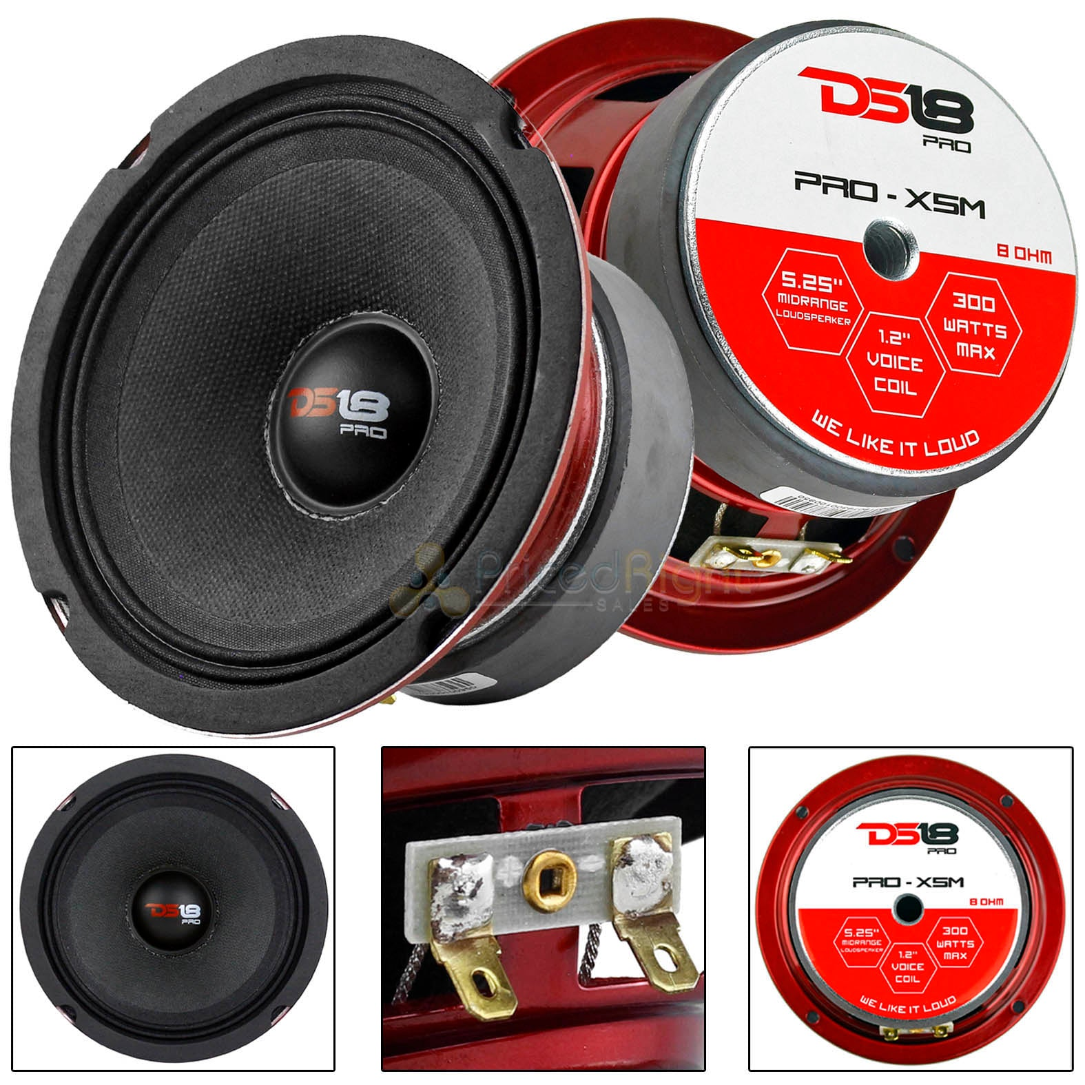 "2 Pack DS18 5.25"" Midrange Loudspeaker 300 Watts Max/150W RMS Car Audio PRO-X5M"