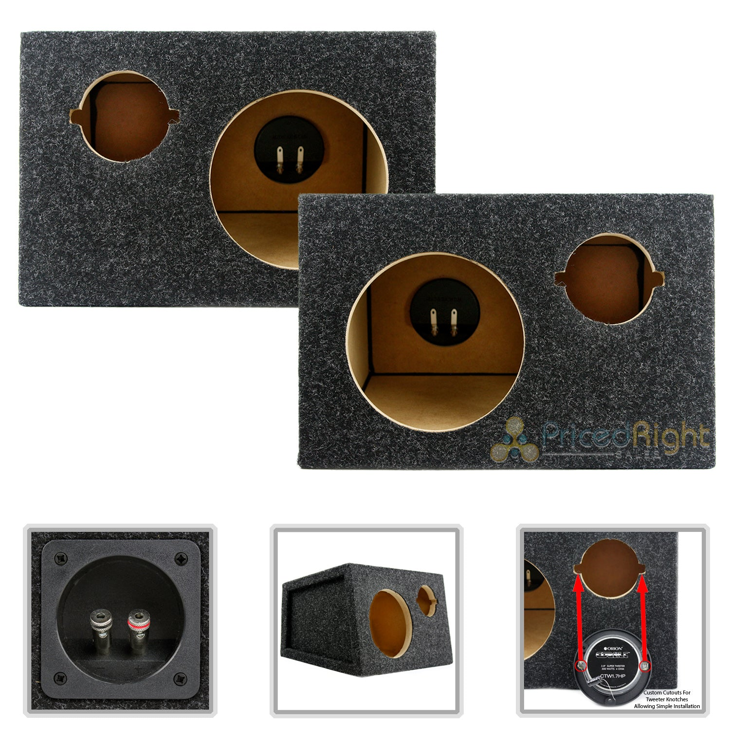 "6.5"" Midrange and Tweeter Car Speaker Box Universal Enclosures Sealed 2 Pack"