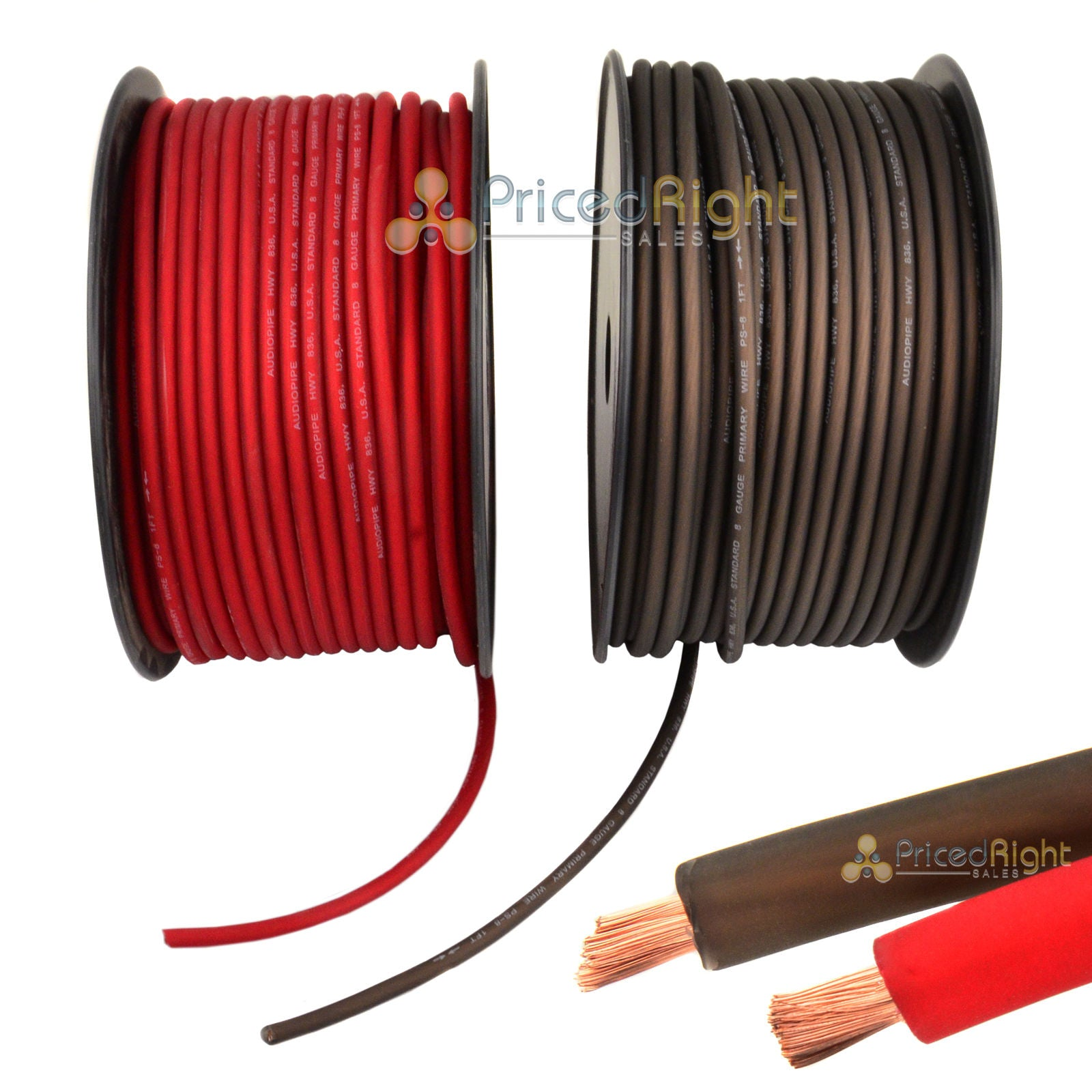 50' Super Flexible 8 Gauge Power & Ground Wire / Cable 25' Red 25 ft Black