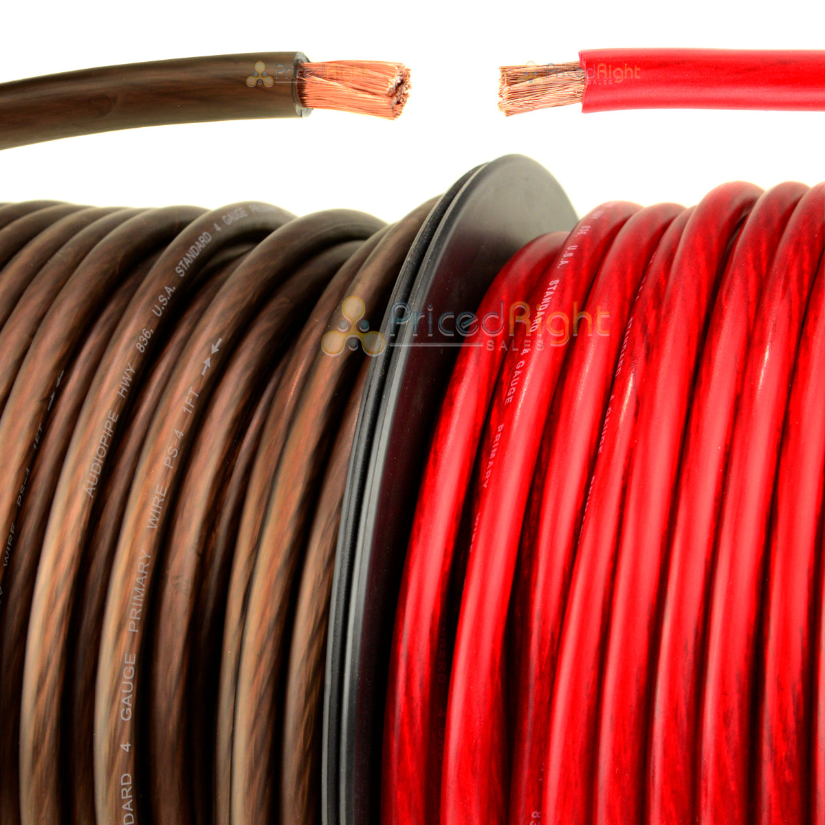 50' Ft Super Flexible 4 Gauge Power Wire or Ground Cable 25 FT Red 25 FT Black