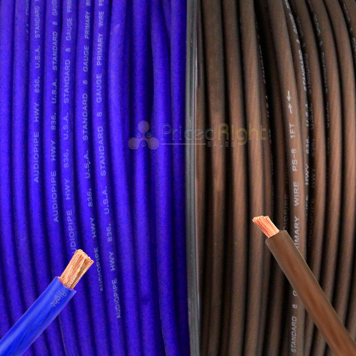 200' Super Flexible 8 Gauge Power Wire Speaker Wire Cable 100' Blue 100 ft Black