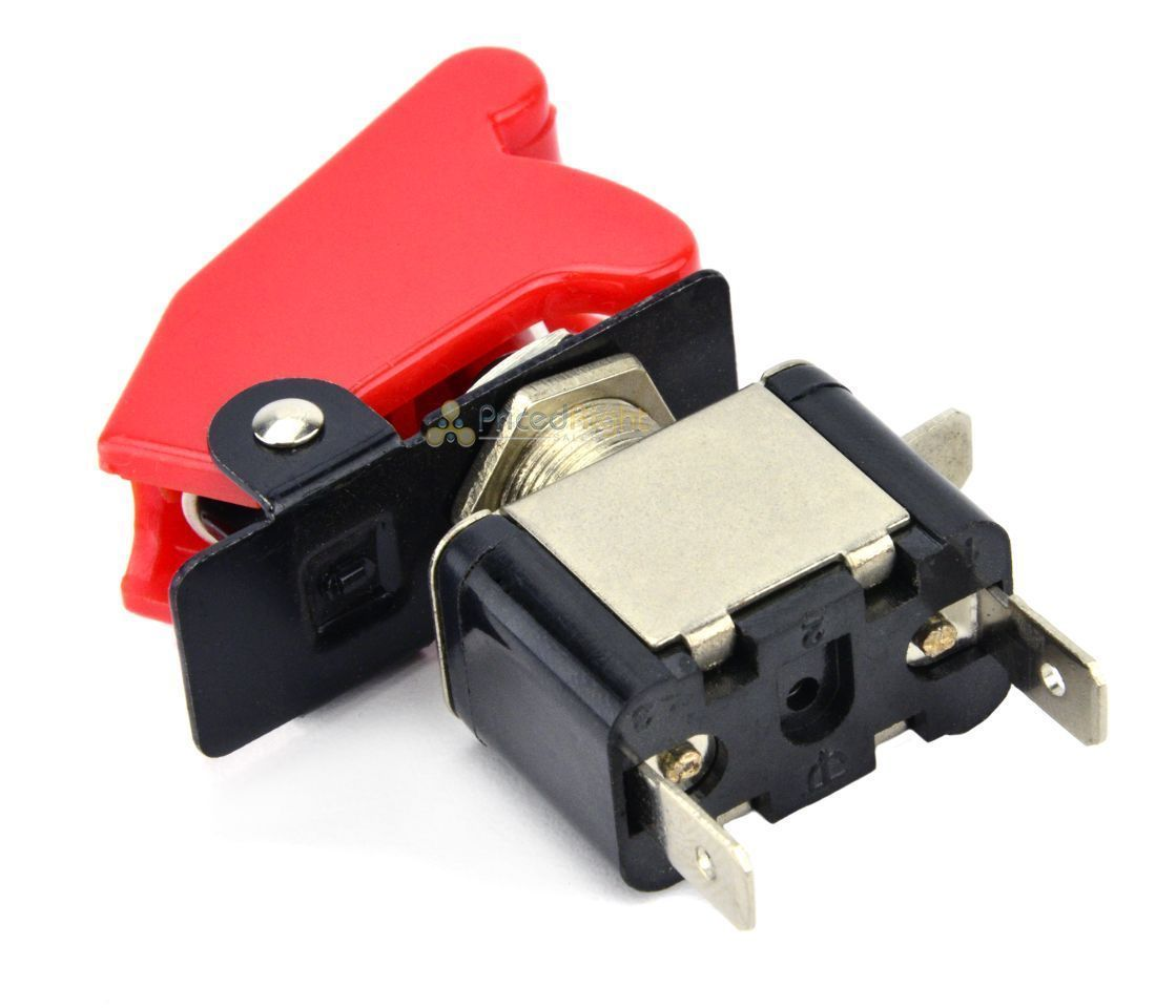 Red 12 Volt Toggle Covered Control On / Off Switch Car Boat Airplane SPST LED