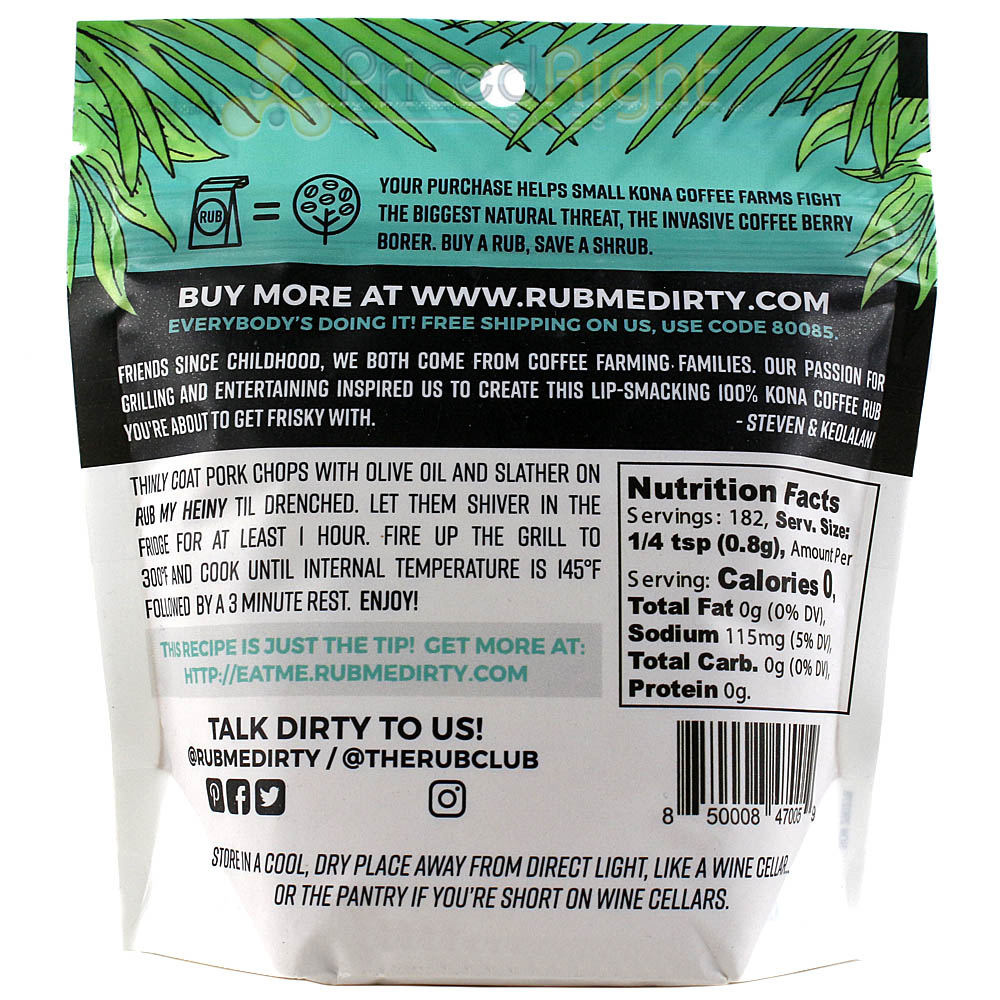 Rub Me Dirty Rub My Heiny 100% Kona Coffee Pork Rub 5 Oz Hawaiian Spice Blend