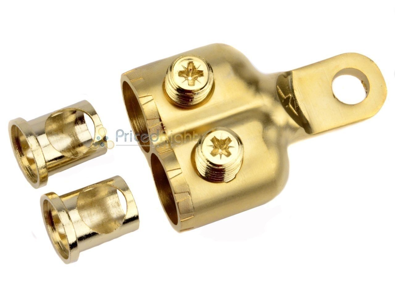 Xscorpion Dual  Gold Plated Double 0 / 2 Gauge Ring Terminal With Adapter RT00G