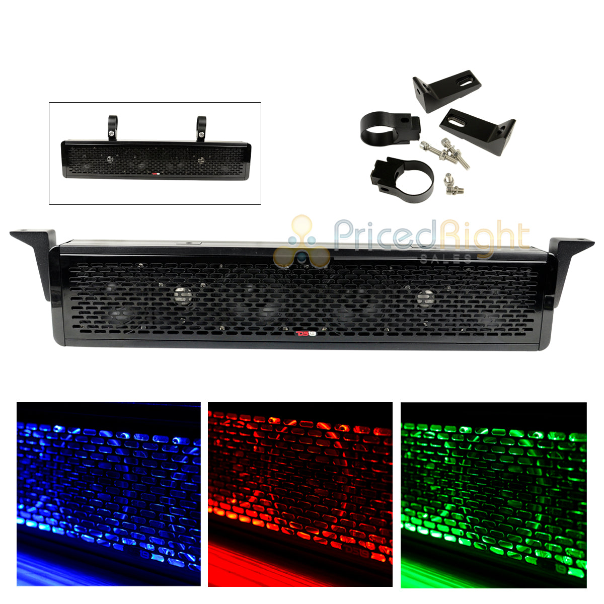 "DS18 SBAR25 25"" 2 Way Sound Bar Waterproof Speaker System with RGB LED Marine"