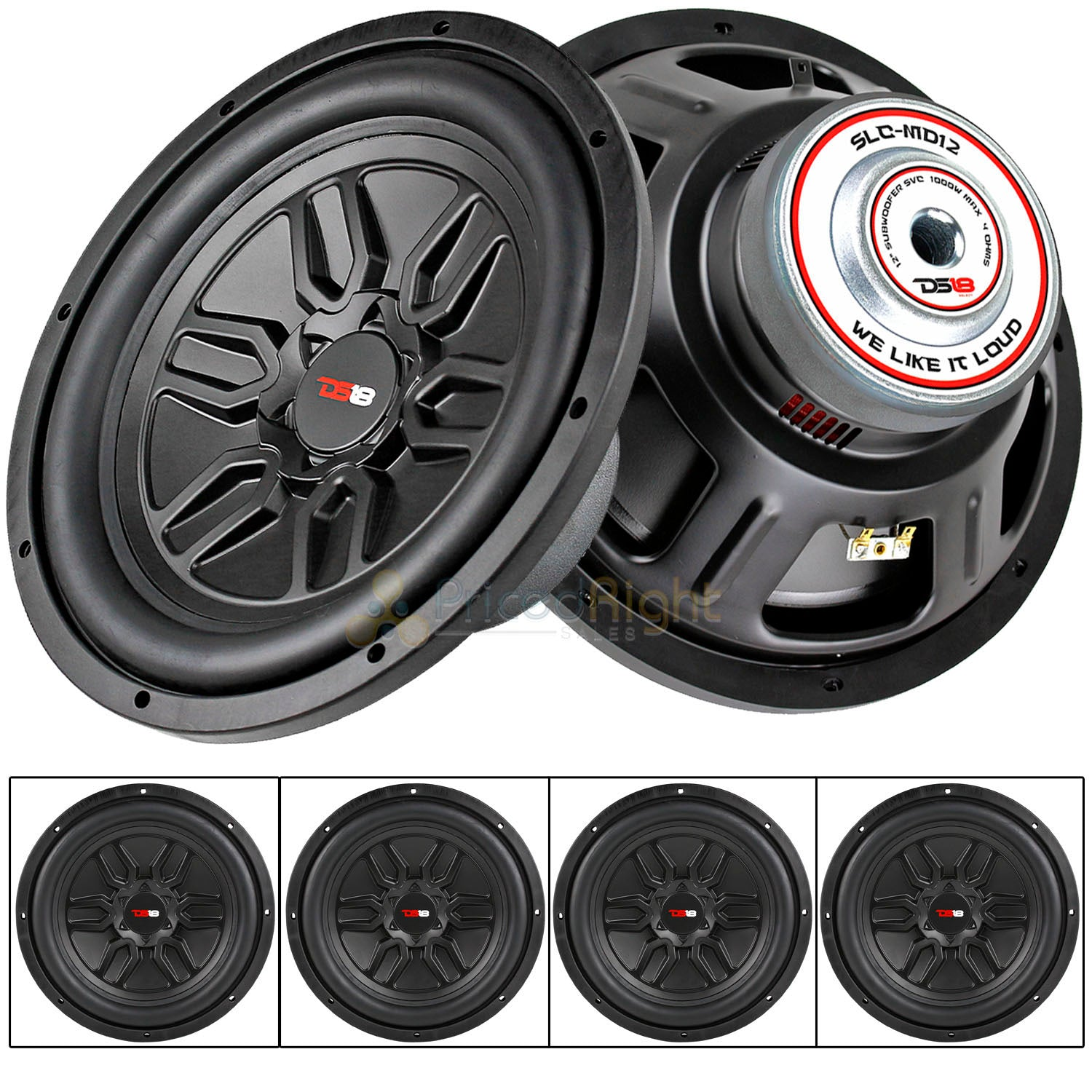 "4 DS18 12"" Single 4 Ohm Subwoofer 1000 Watts Max Select Series Audio SLC-MD12"