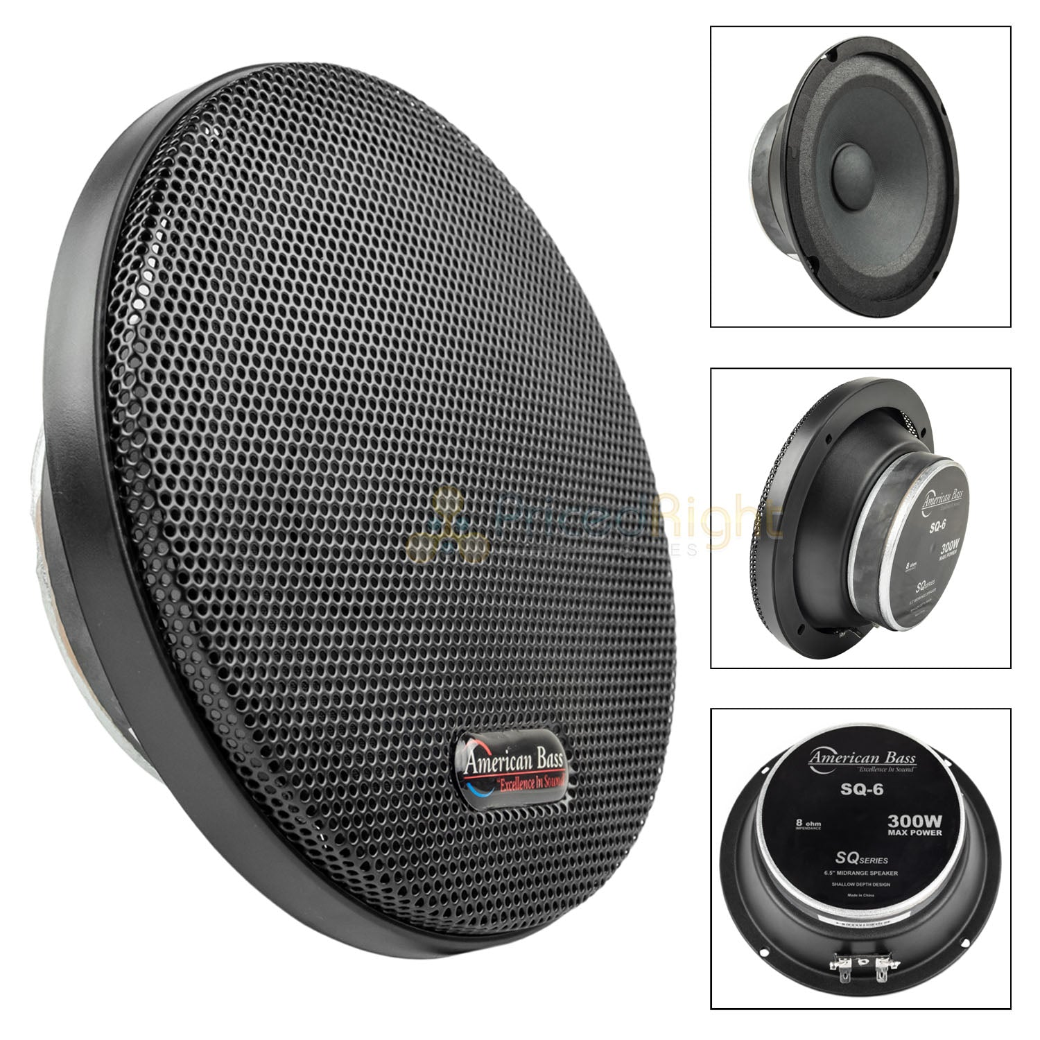 "American Bass SQ-6 6.5"" Midrange Car Speaker 300 Watts Max Ultra Thin SQ6 Single"