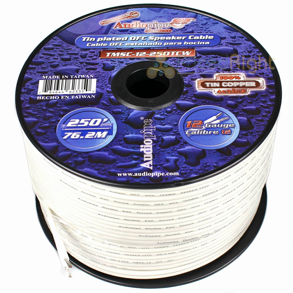 25 Ft 12 Gauge Tin Plated Copper OFC Marine Grade Speaker Audio Cable Wire
